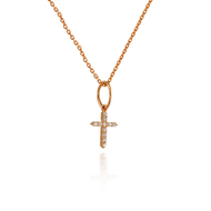 Tiny Rose Gold Diamond Cross Pendant