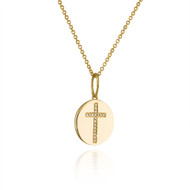 Yellow Gold Disc Diamond Cross Pendant