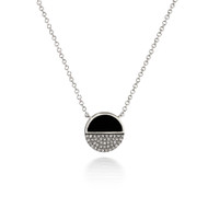 Bassali Modern Onyx and Diamond Yin-Yang Pendant