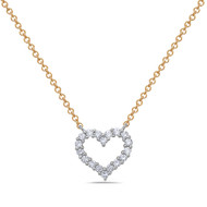 Bassali Yellow and White Gold Diamond Heart Pendant