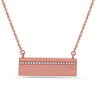 Bassali Textured Rose Gold Bar Pendant