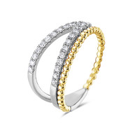 Bassali Two Tone Bead and Diamond Split Ring