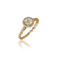 Diamond Engagement Ring with Fancy Bead Shank