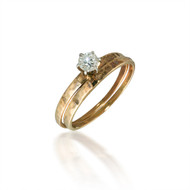 Thin Diamond Solitaire Bridal Set with Hammered Finish