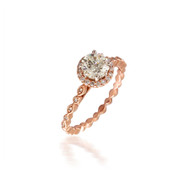 Diamond Halo Engagement Ring with Beaded Shank