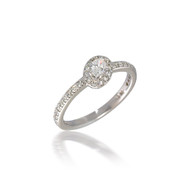 Off-Set Oval Halo Engagement Ring