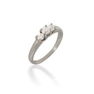Petite Three Stone Round Diamond Engagement Ring