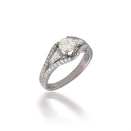 Diamond Baguette and Round Swirl Engagement Ring