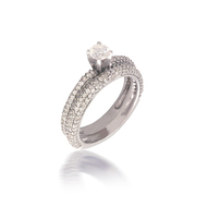 Diamond Pave Solitare Bridal Set