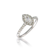 Marquise Diamond Halo Engagement Ring with Peek-a-Boo Diamond