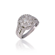 Diamond Lotus Cluster Engagement Ring with Halo
