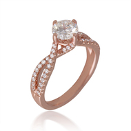 Rose Gold Cardinal Bypass Engagement Ring with Twisted Shank