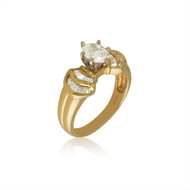 Diamond Oval and Bagguete Engagement Ring