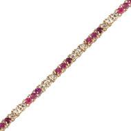 Classic Round Diamond and Ruby Tennis Bracelet