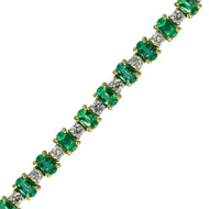 Classic Round Diamond and Oval Emerald Tennis Bracelet