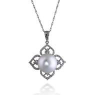 Lotus South Sea Pearl and Diamond Pendant
