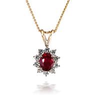 Flower Ruby and Diamond Pendant