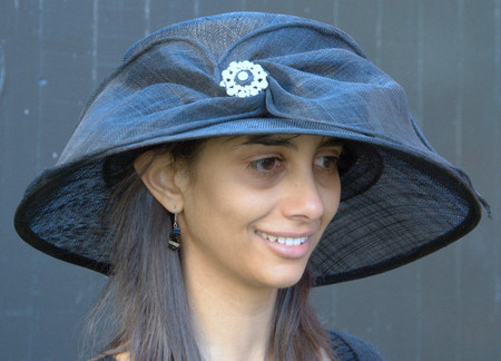 Black Whimsical Brooch Hat for the Kentucky Derby.