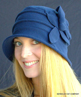 Women's Cloche Packable Polar Fleece Hat in blue