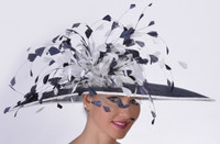 Del Mar Feather Frenzy Race Hat in Navy and White.