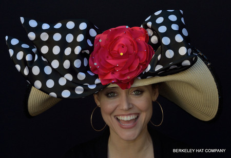 Pin-Up Girl Polkadot Kentucky Derby Hat with Red Rose.