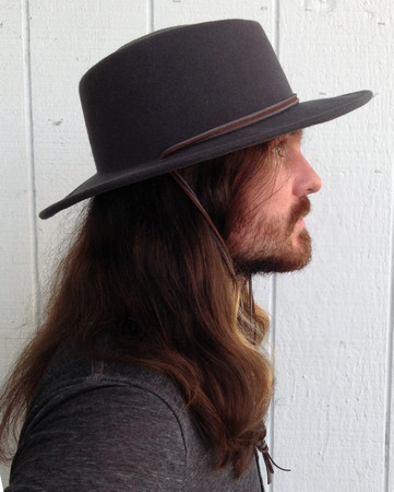 Pinched Crown Grey Wool Outback Hat with Cord side view