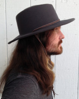 Pinched Crown Grey Wool Outback Hat with Cord