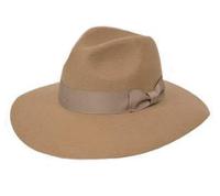 Stiff Wide Brim Fedora Hat - Camel