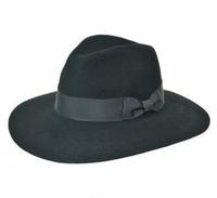 Black Stiff Wide Brim Fedora Hat