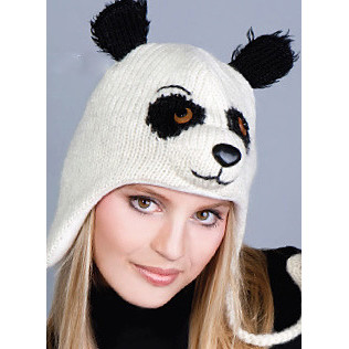 Patches the Panda Fleece-Lined Wool Knit Hat