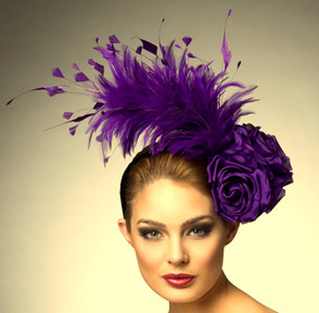 Isabel, Purple Feathered Fascinator by Arturo Rios