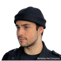 Davo Melton Wool Beanie Dockworker Cap in Black