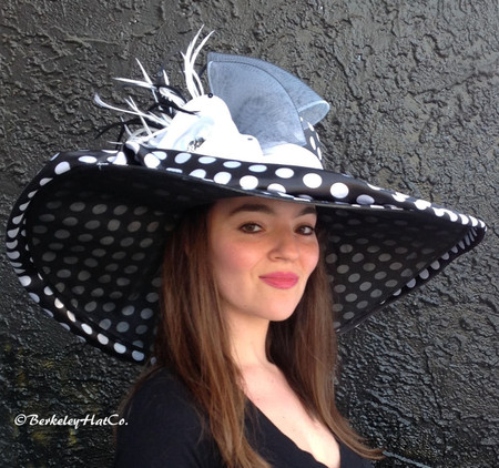 Black and White Polkadot Large Brim Spectator Derby Hat.
