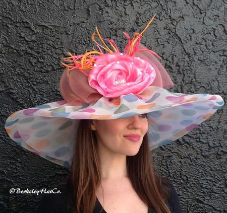 Large Brim Multicolor Pastel Polkadot Derby Hat.