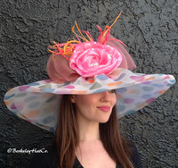 Large Brim Multicolor Pastel Polkadot Derby Hat.