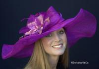 Winning Santa Anita Flowered Hat for the Derby in Purple