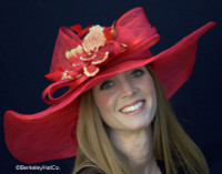 Winning Santa Anita Flowered Hat for the Derby in Red