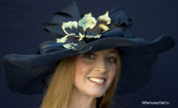 Winning Santa Anita Flowered Hat for the Derby in Black