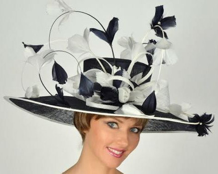Navy and White Rodeo Drive Kentucky Derby Hat
