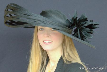 Black Saturnalia Derby Hat in Sinamay Straw.