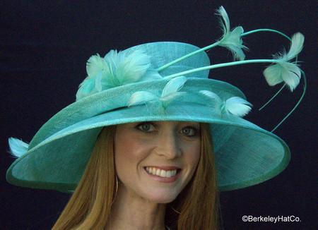 Show Stopper Derby Hat in Aqua Blue
