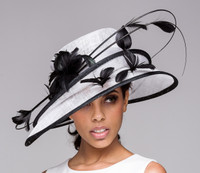 Show Stopper Derby Hat in White with Black Accents