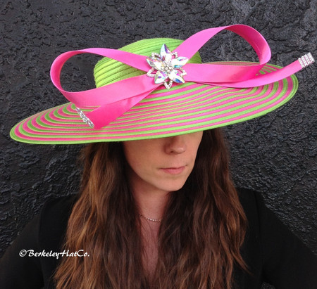 4a3e3f99a22 Pink and Green Couture Hat for the Derby.