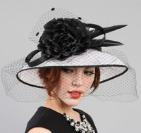 Black and White Kentucky Derby Hat With Veil.