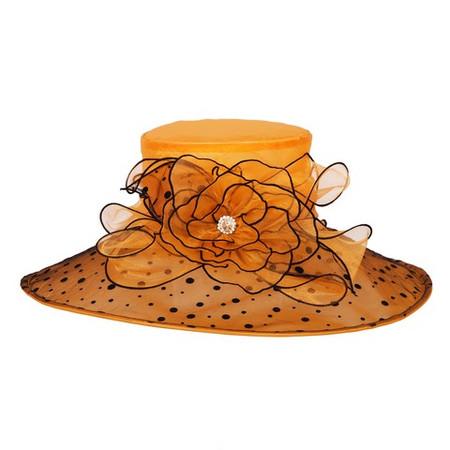 Orange Kentucky Derby Hat with Black Polkadots, Wide Brim.