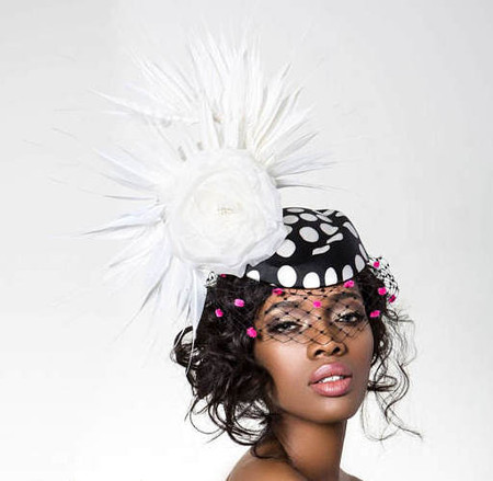 Dottie, Black and White Polkadot Fascinator with Pink Polkadot Veil, White Feathers and Flower, by Arturo Rios.