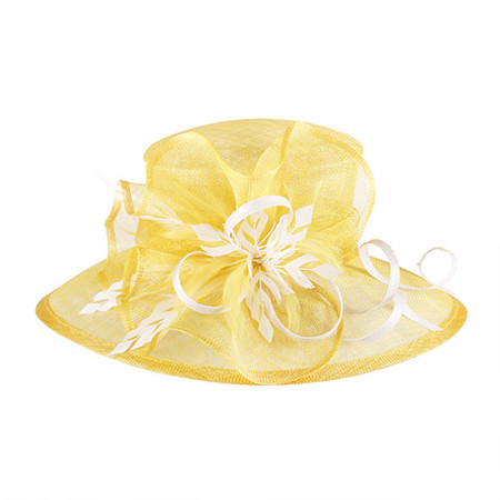 Yellow Two-tone Feathered Sinamay Hat for the Races