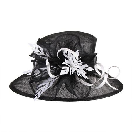 Black and White Two-tone Feathered Sinamay Hat for the Races 2a690f5d89a