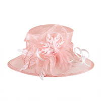 Pink Two-tone Feathered Sinamay Hat for the Races