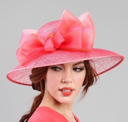 Coral Pink Organza Bow Sinamay Baby Shower Hat on model